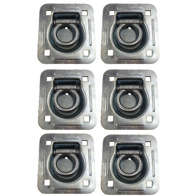 6,000 lb. Rated Capacity Recessed Trailer Anchor Point Tie Down D-Ring 6 Pack