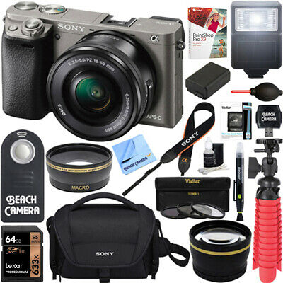Sony Alpha a6000 24.3MP Mirrorless Camera 16-50mm Lens+64GB 16Pcs Accessory Kit