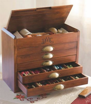 DMC Wooden Collectors Box With Full Range of DMC Threads (x465) Sewing Crafts