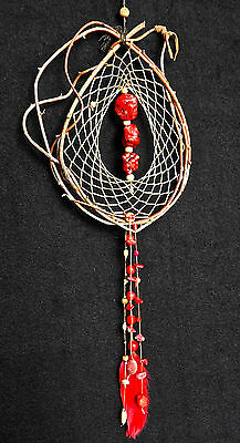 Dreamcatcher #1261- Red Coral chunks- Native American, Tribal Art