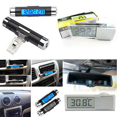 Digital LED Auto Car Clock In-Outdoor Thermometer Sensor Temperature LCD Display