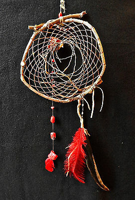 Dreamcatcher #1259- Red Coral chunks- Native American, Tribal Art