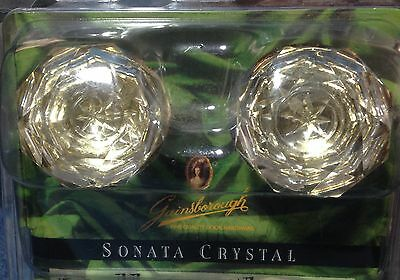 NIB Vintage Look Crystal Glass & Brass Residential Door Knobs, 1 Pair (d5m)