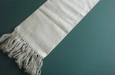Large Antique French Linen Silky Damask Towel Fleur De Lis Weave