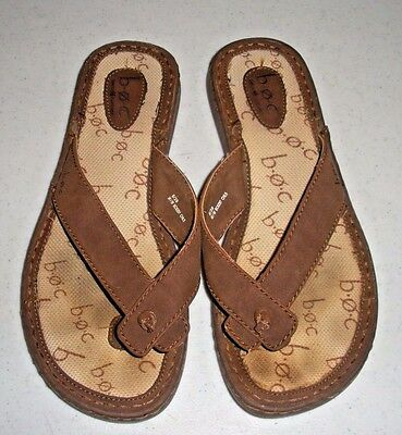 c31df0569fd BOC Born Brown Leather Thong Sandals Padded Flip Flop Sandals Women s 8   39