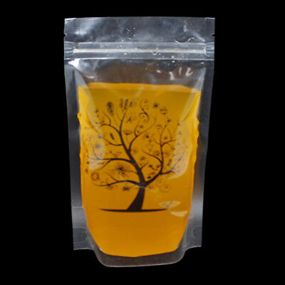 400ml Clear Plastic Empty Stand up Bags Drinking Juice Wine Storage Pouches