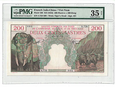 FRENCH INDOCHINA 200 PIASTRES 1953 Pick# 109 PMG-35 NET CHOICE VERY FINE (#841)