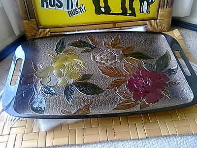 Vintage Plastic Embossed Flowers Cocktail Tray retro 1970s