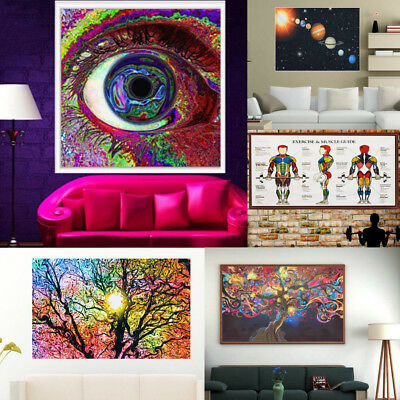 5 Types Cosmos System Psychedelic Tree Art Silk Cloth Poster Home Wall Decor