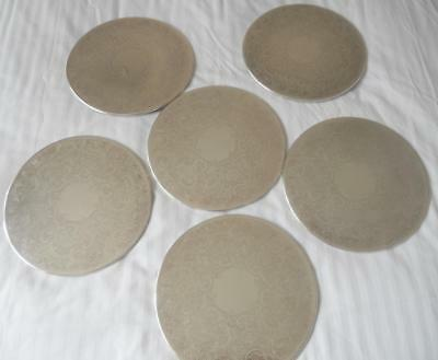 Vintage Set 6 Strachan Quality Silver Plate 20 Cms Diam Dinner Place Mats
