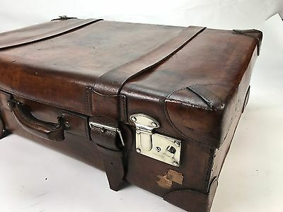 Beautiful Atique Large Solid Leather Belted Travel Suitcase