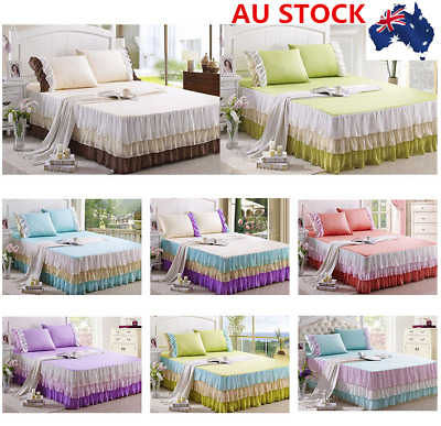 AU Lace BED RUFFLE SKIRT Cotton Sheet Cake Bed Sheet Princess Bedding Queen King