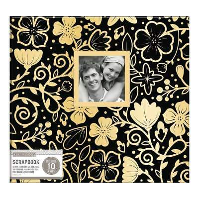 K&Company Patterned Post Bound Window Album 12X12 inch - Black With Gold Floral