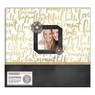 K&Company Patterned Post Bound Window Album 12 Inch X12 Inch Gold Brushed Sen...