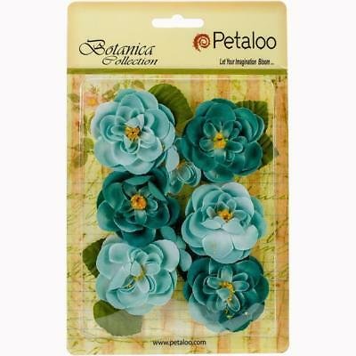 NEW Petaloo Botanica Ranunculus Flowers 1 inch To 1.75 inch - 8 pack - Teal