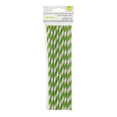 NEW American Crafts - Details Lined Paper Straws 24 Pack - Cricket