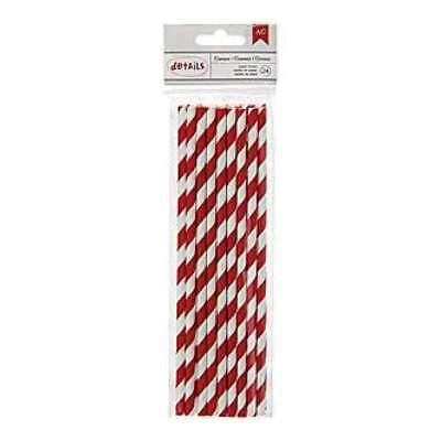 NEW American Crafts - Details Lined Paper Straws 24 Pack - Crimson