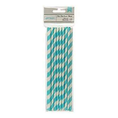 NEW American Crafts - Details Lined Paper Straws 24 Pack - Pool