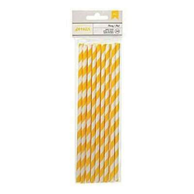 NEW American Crafts - Details Lined Paper Straws 24 Pack - Honey
