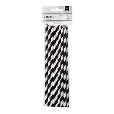 NEW American Crafts - Details Lined Paper Straws 24 Pack - Black