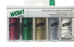 NEW American Crafts -  Wow! Mixed Glitter .34Oz 5 Pack Christmas