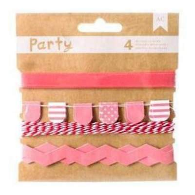 NEW American Crafts -  Diy Party Decorative Trims 4 Pack  Pink & White