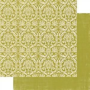 Teresa Collins - Fabrications Canvas - Green Damask 12X12 D/Sided Paper  (Pack O