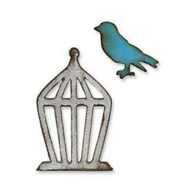 Tim Holtz Alterations Sizzix Movers & Shapers Magnetic Dies - Bird & Cage
