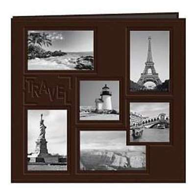 NEW Sewn Embossed Collage Frame Post Bound Album 12In. X12in.  Travel - Brown