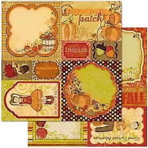 NEW Bo Bunny Press - Apple Cider - Cut Outs 12X12 D/Sided Paper (Pack Of 10)