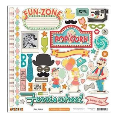 NEW October Afternoon - Midway - 12X12 Shape Sticker Sheet