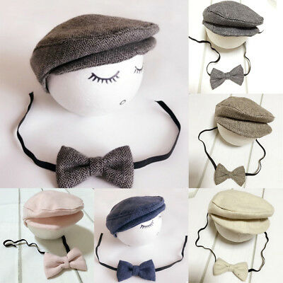 Newborn Baby Boy Peaked Beanie Cap Hat Bow Tie 0-9 Months Photo Props Outfit Set