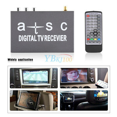 Mini Car Auto Digital TV Box Signal Receiver Analog Tuner Antenna Remote Control