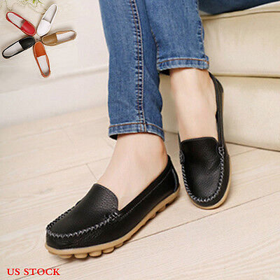 Fashion Women Leather Solid Flats Shoes Slip On Comfort Shoes Flat Shoes Loafers