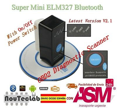 ELM327 con Interruptor Diagnosis Multimarca Coche OBDII Bluetooth ELM 327 V2.1