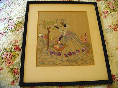 Vintage Hand Embroidered Panel Picture Crinoline Lady Cottage Garden Needlework