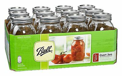 Ball Regular Mouth Quart 32 oz Glass Mason Jars with Lids and Bands, Clear, 12ct