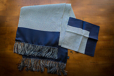 Mens Houndstooth Dogtooth 100% Silk Scarf with matching Silk Pocket Square