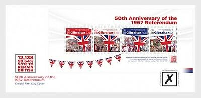 """Gibraltar - 2017 """"Referendum 50th Anniversary"""" First Day Cover- MS"""