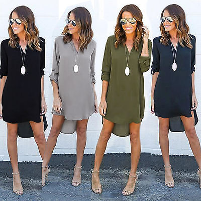 Women Blouse Chiffon Long Sleeve Shirt Casual V Neck Loose Tops Dress Plus Size