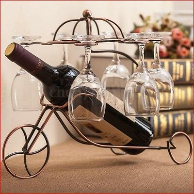 Vintage Metal Wine Bottle Holder Wine Glass Stemware Rack Home Bar Decor Display