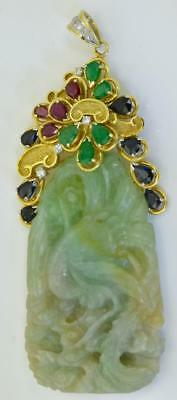 One of a kind Chinese 18k gold,Diamonds,Sapphires,Emeralds&Rubies Jade pendant