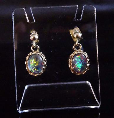 1960's Antique 9ct Yellow Gold Opal Earrings  #130