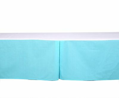 Bacati - Solid Aqua Tailored With 100% Cotton Percale 13 Inch Drop Crib/Toddler