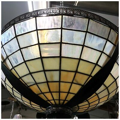 Tiffany Style Very Large Glass and Copper Ceiling Light