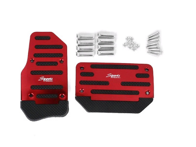Red Aluminium Nonslip Brake Clutch Pedal Cover Set Foot Rest for Automatic Cars