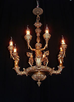 """Vintage large Spanish bronze chandelier with Caryatides figures 30"""" tall"""