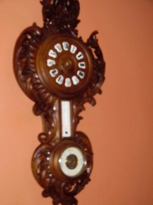 victorian carved wall clock / barometer