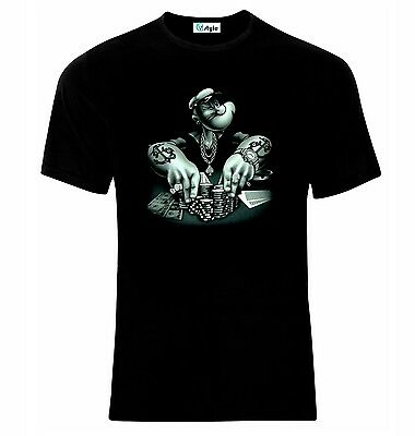 Poker Popeye The Sailor T-Shirt  All Sizes