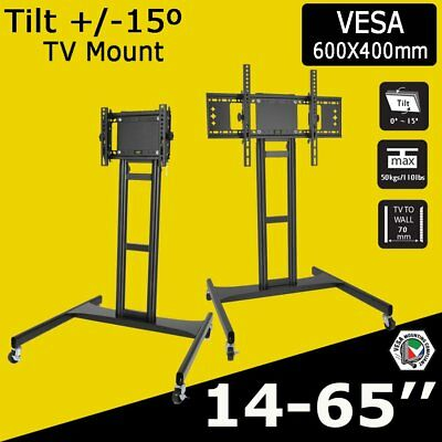 "26-55 / 32-65"" Led Lcd Plasma Tv Stand Bracket Sturdy Mobile Trolley With Wheels"